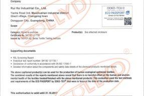 SOLLYD丝印硅胶OEKO-Tex 100 标准检测证书